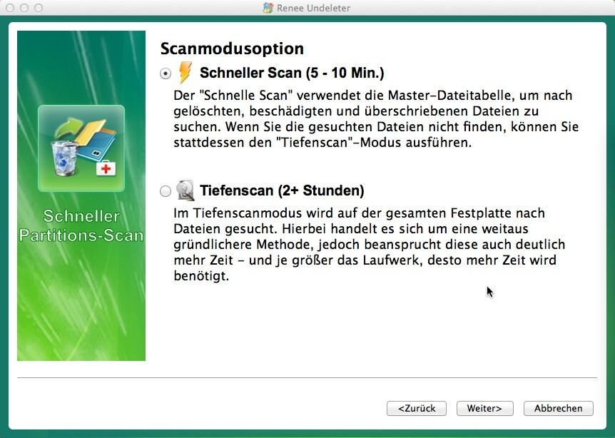 Scannmodusoption der Datenrettung - Mac