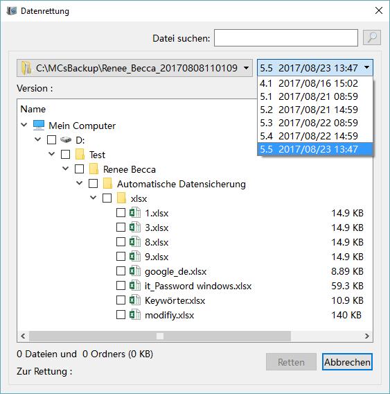 Datei von Backup wiederherstellung