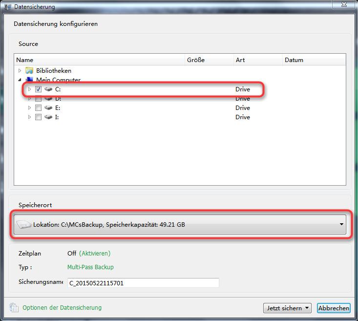 Datensicherung konfigurieren