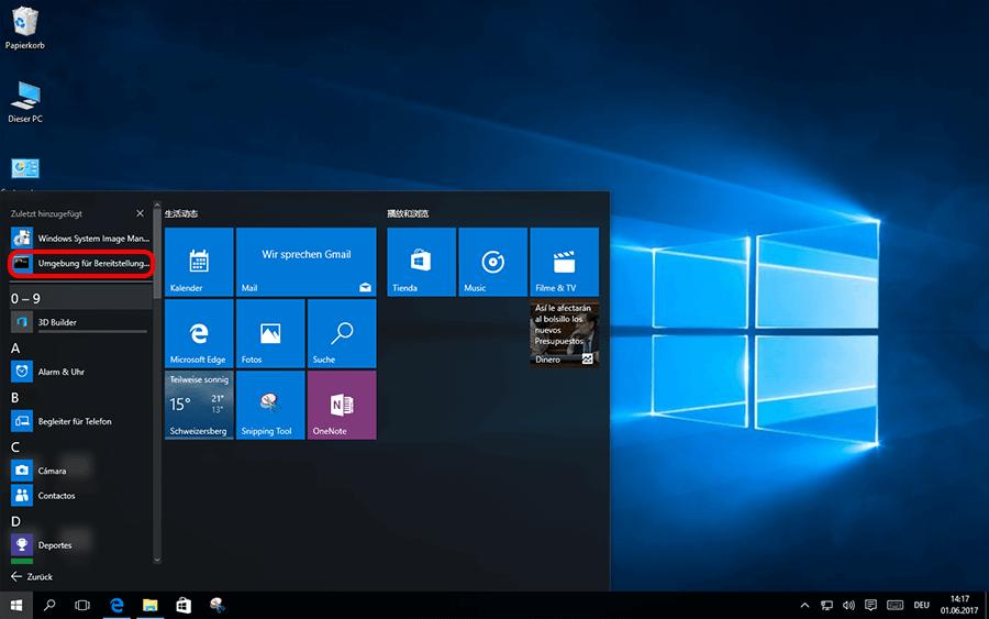 Microsoft ADK öffnen