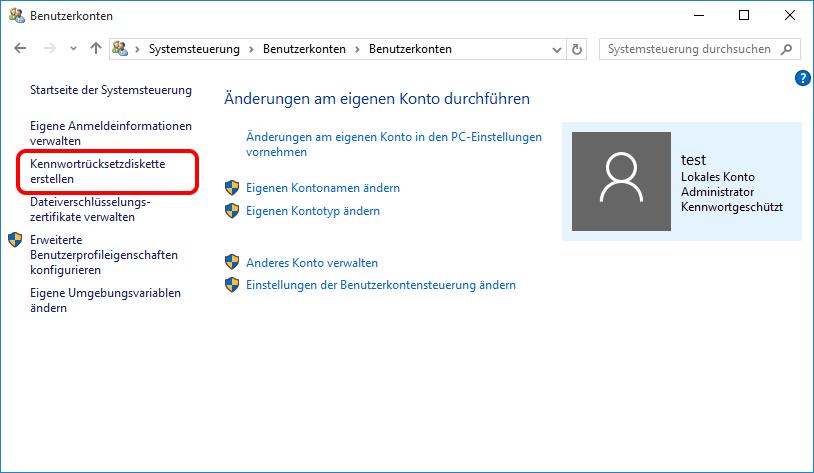 """Klicken Sie """"Kennwortrücksetzdiskette erstellen"""" auf der linken Seite"""