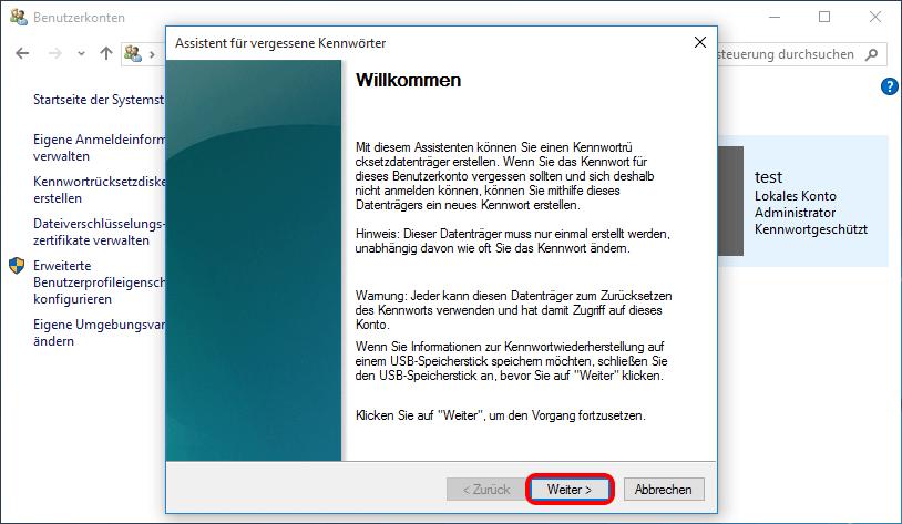 """Programm """"Assistent für vergessene Kennwörter"""""""