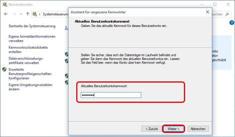 Geben Sie das aktuelle Passwort ein und weiter