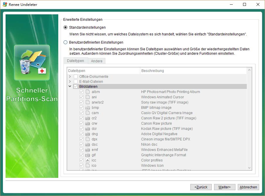 Formate zu wählen von der Interface der Datenrettung Software