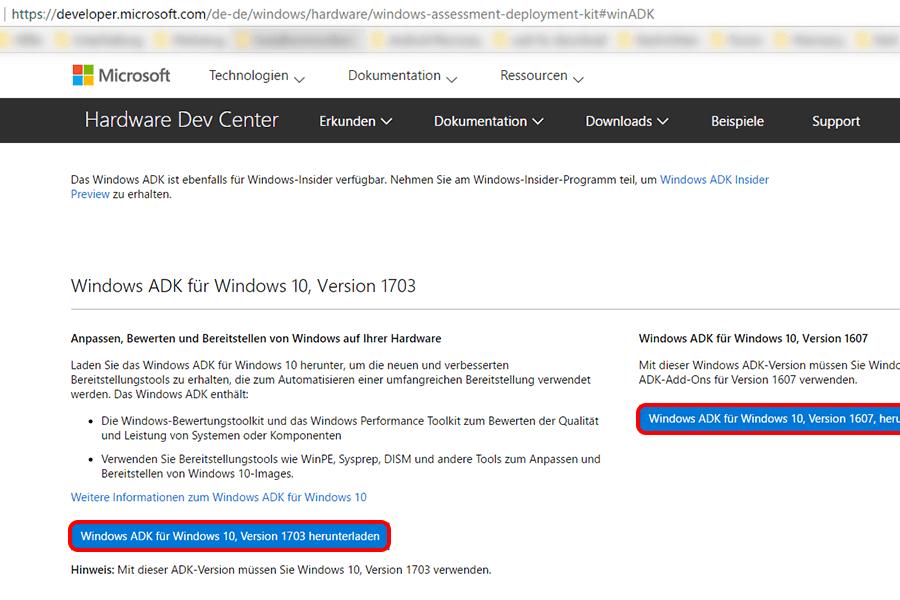 Herunterladen per Microsoft ADK