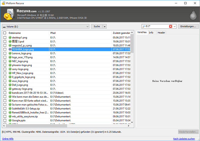 Test für Datenrettung Software Recuva
