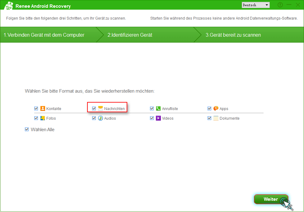 """Wählen Sie Datei-Type aus, und klicken Sie auf die Option """"Weiter""""."""