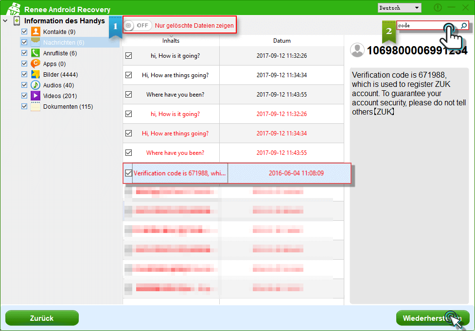 Wiederherstellung der gelöschten Dateien