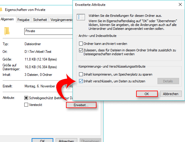 Ordner mit Windows verschlüsseln