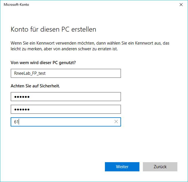 Passwort einstellen