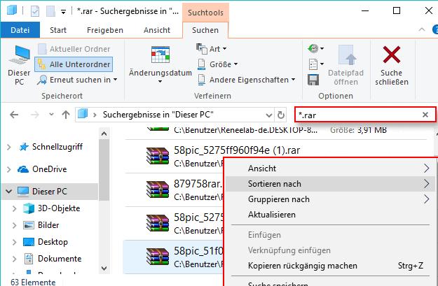 suchen nach verschlüsselten Datei bei Explorer