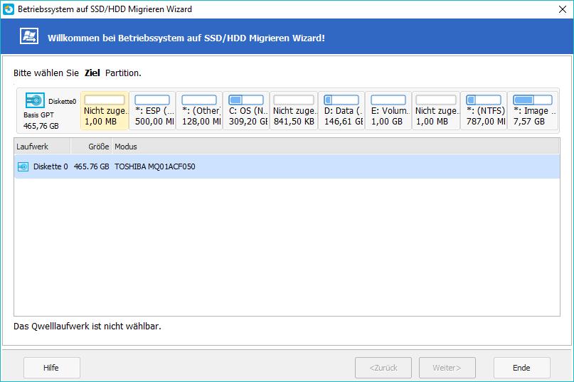 OS auf SSD,HDD migrieren