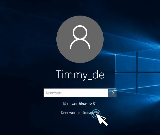 Windows 10 Passwort vergessen und Kennwortrücksetzdatenträger Windows 10 Passwort zurücksetzen