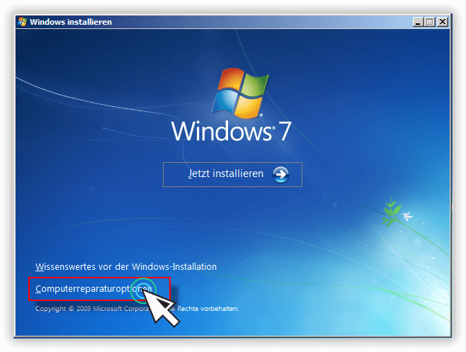 Windows 7 Installationsmedium - Computerreparaturoptionen