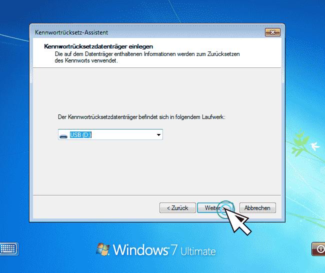 Windows 7 Kennwortrücksetzdatenträger anschließen-min