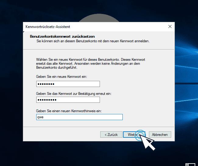 neues Passwort einstellen