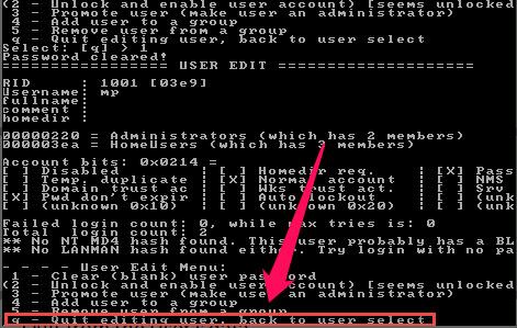 ntpassword Windows Passwort bearbeiten