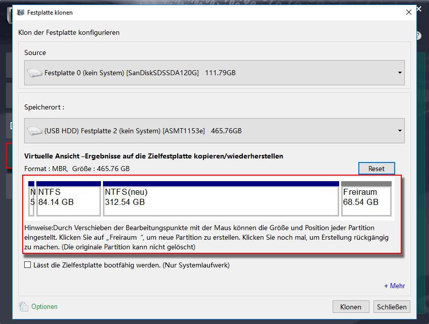 partition nach Festplatte klonen einstellen