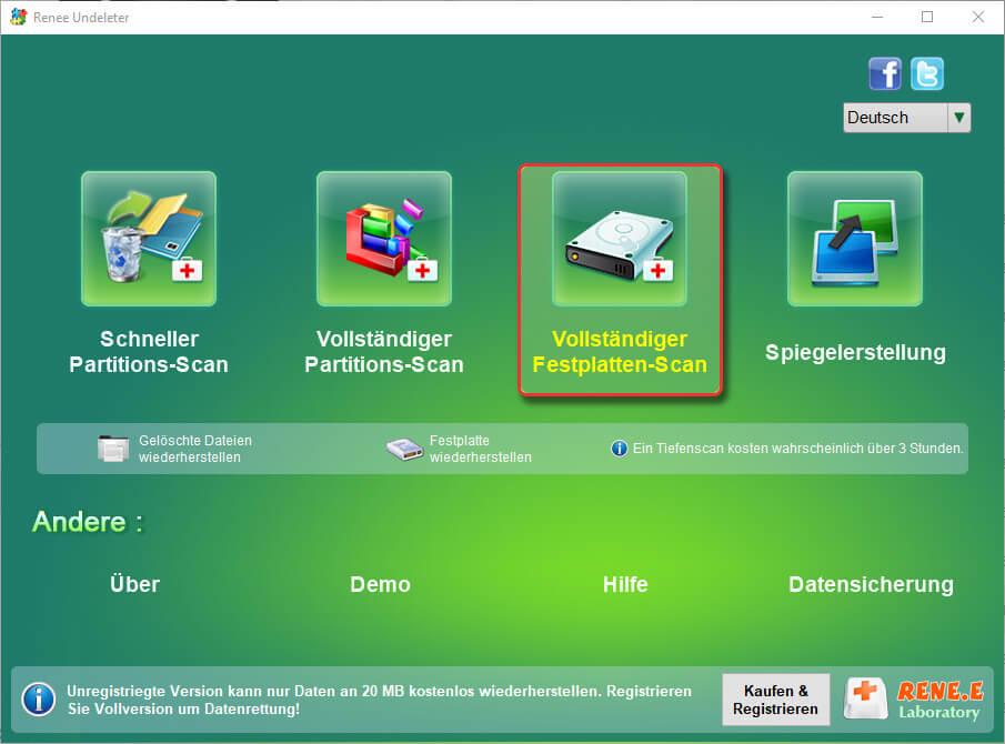vollständiger Festplatte-Scan