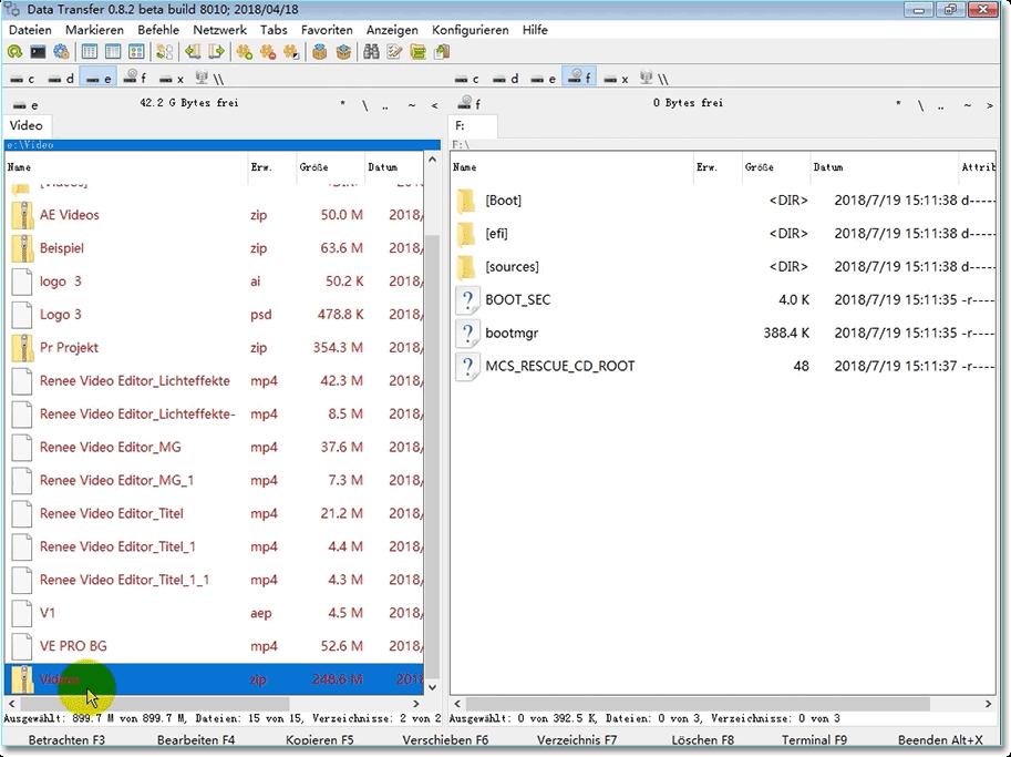 Kopierprogramm: Datei auswählen