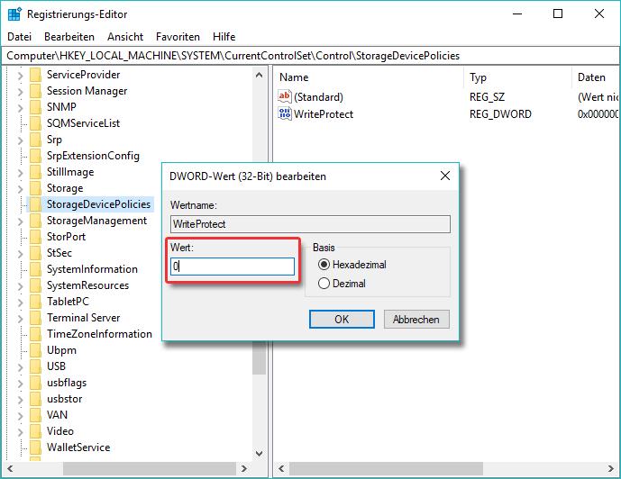 Registrierung Wert in 0 ändern