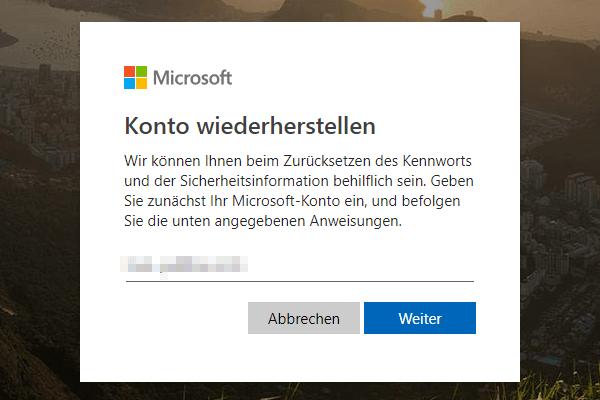 Microsoft-Kontos Passwort zurücksetzen, Konto eingeben