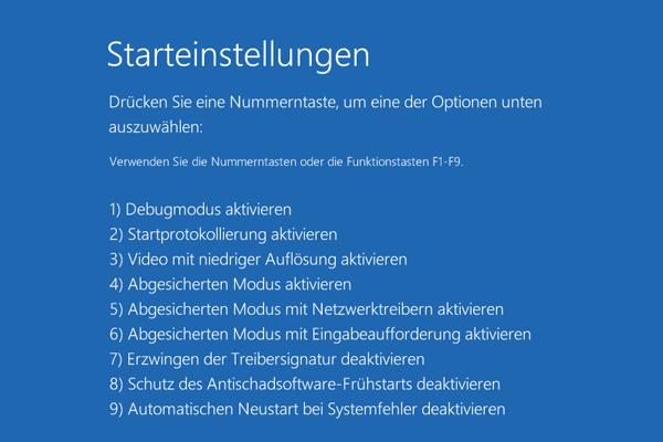 Starteinstellungen, Windows 10 abgesicherter Modus