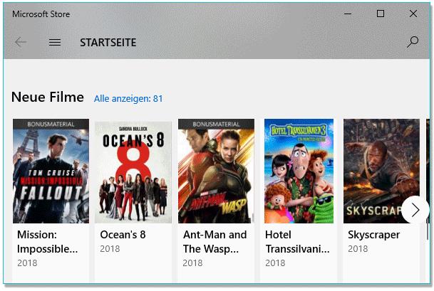 Startseite beim Microsoft Store