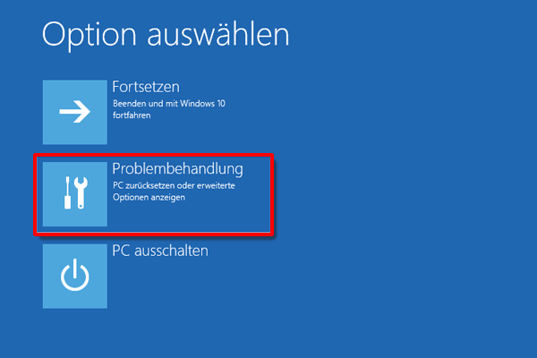 Windows 10 Problembehandlung klicken