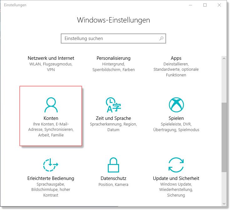 Windows Einstellungen Konten