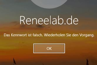 Windows Passwort ist falsch