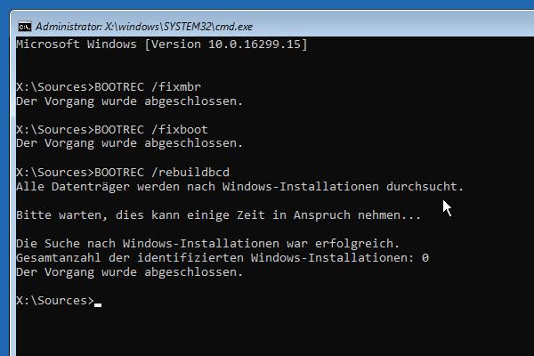 fixboot, fixmbr und rebuildbcd