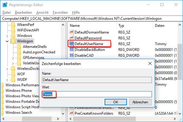 Wert von der Option Default UserName in Ihren Benutzernamen ändern