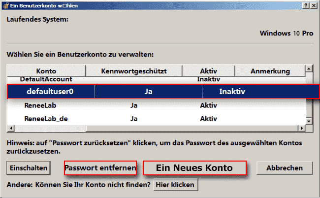 Renee Kennwortrücksetzdatenträger Windows 10 Passwort entfernen