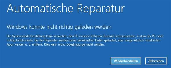 automatische Reparatur fehlt