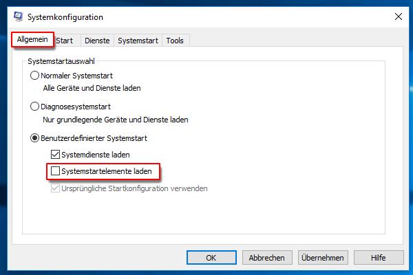 """die Option """"Systemstartelemente laden"""" deaktivieren"""
