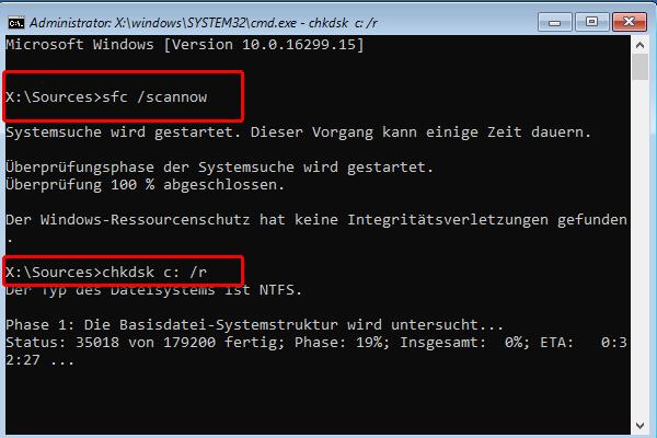sfc /scannow, chkdsk c: /r ausführen