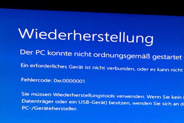 windows 10 fehlercode 0xc0000001