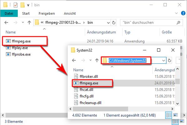 FFmpeg auf OS-Windows-System32 kopieren