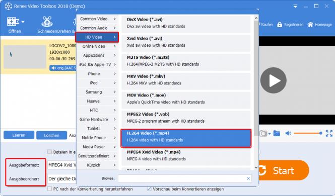 Videoformat auswählen und einstellen
