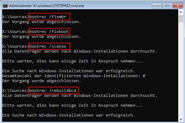 fixboot, fixmbr, scanos und rebuildbcd