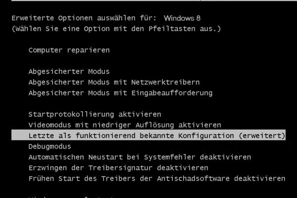 letzte als funktionierende_bekannte Konfiguration starten windows 8