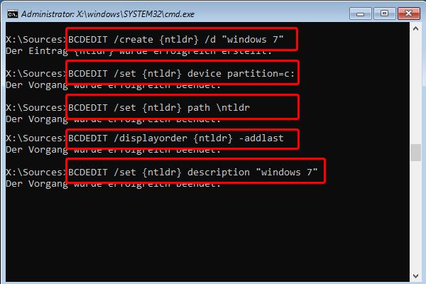 mit BCDEDIT Neues System in Bootloader integrieren