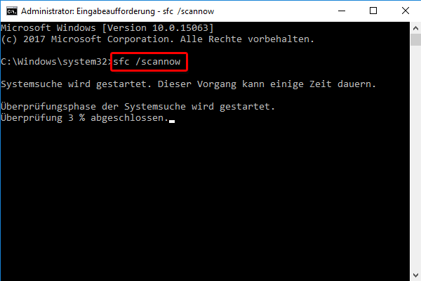 sfc /scannow in Windows 10