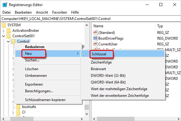 Registrierungseditor_System_Control_neu_Schlüssel