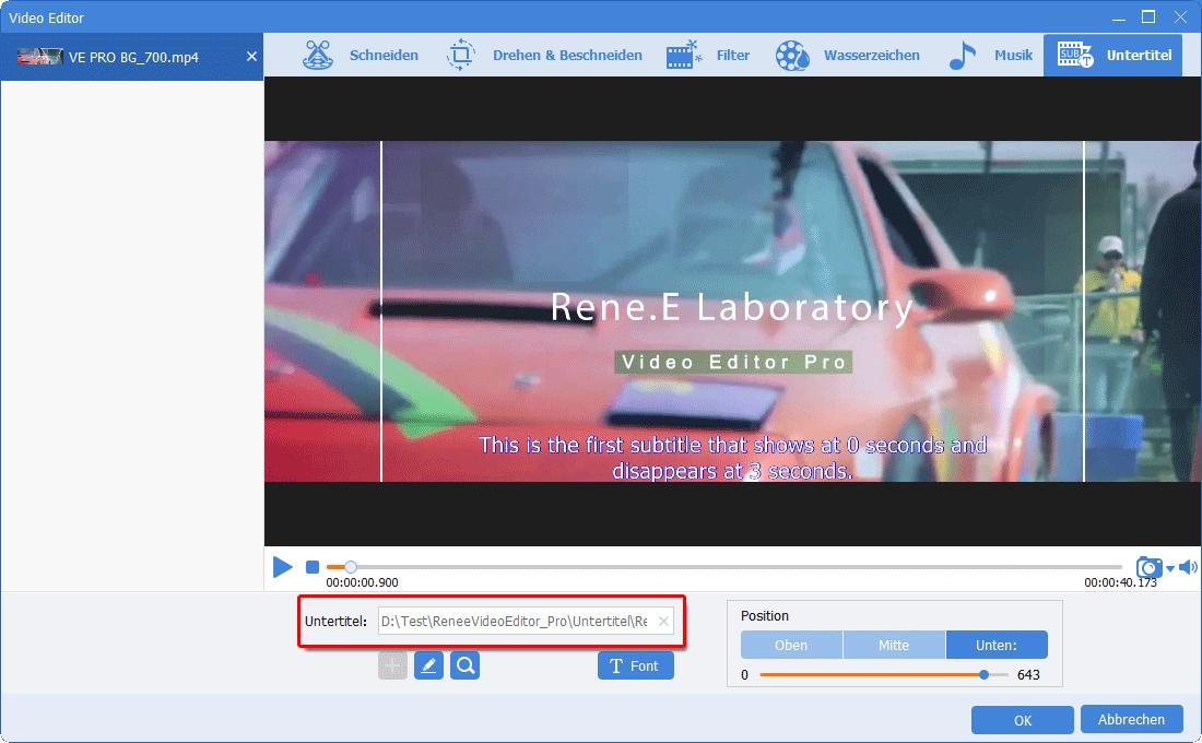 Renee Video Editor Pro_Untertitel geladen wird