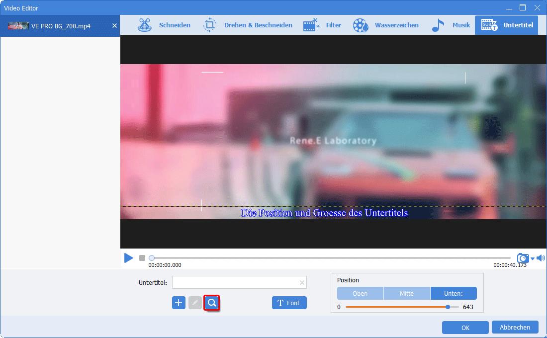 Renee Video Editor-Pro_Untertitel suchen