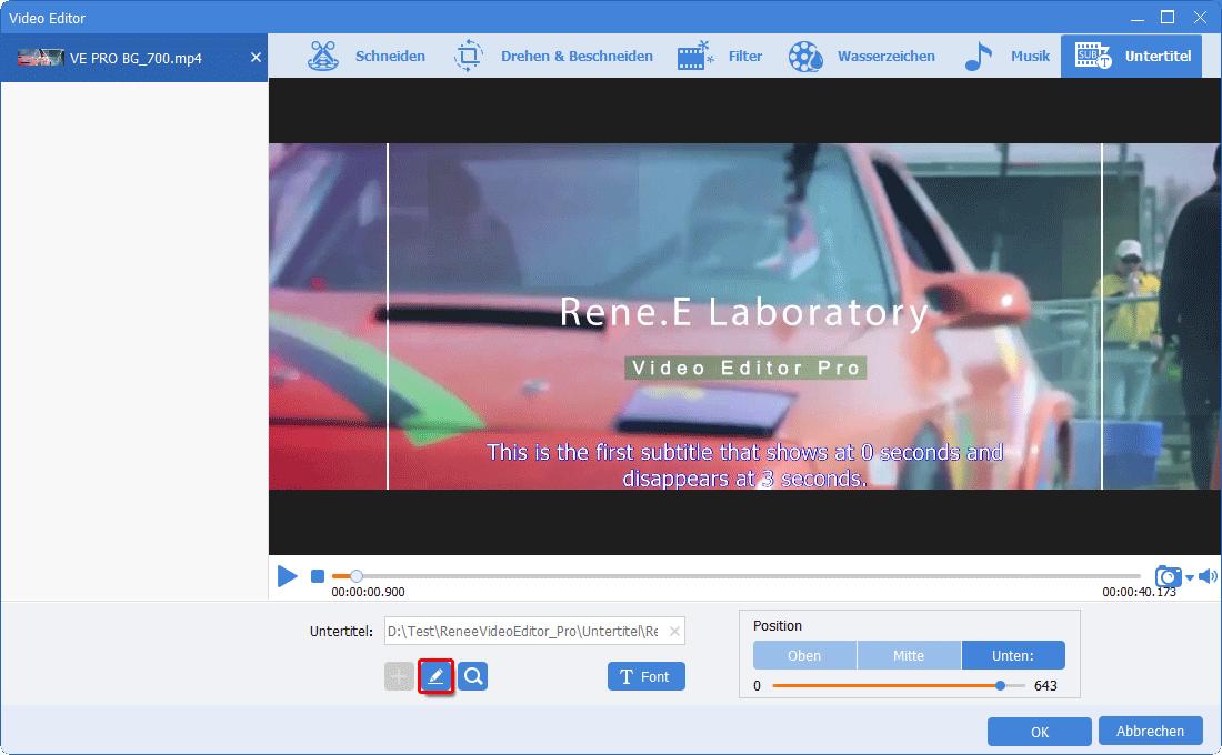 Renee Video Editor Pro Untertitel weiter bearbeiten