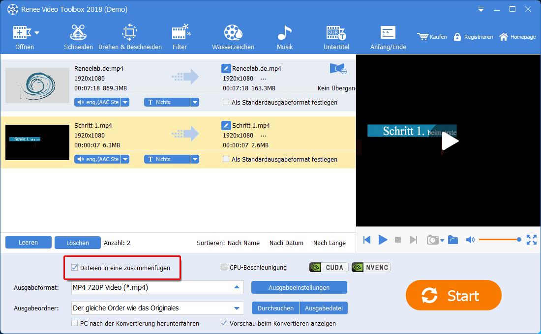 Renee Video Editor Pro videos in ein zusammenfügen