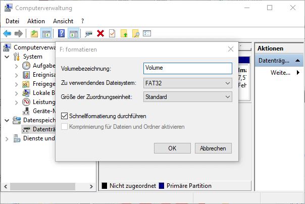 USB Stick formatieren